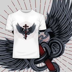 Snake with wings wrapped around a cross with pentagram
