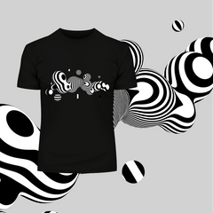3D Fluid Steel Black & White Ball Unique Design T-shirt