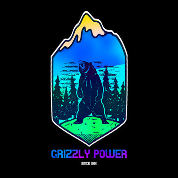 Grizzly Power - Since 1991 - Great Outdoor Crew Neck Grey T-Shirt