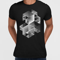 Linear striped abstract 3D dimensional retro style graphic element Black T-shirt