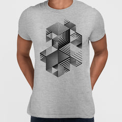 Linear striped abstract 3D dimensional retro style graphic element Grey T-shirt