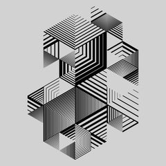 Linear striped abstract 3D dimensional retro style graphic element