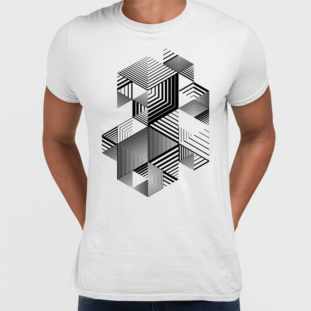Linear striped abstract 3D dimensional retro style graphic element White T-shirt