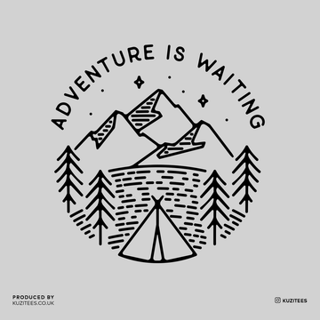 Adventure is Waiting Outdoor Minimal Line Drawing Tee Grey