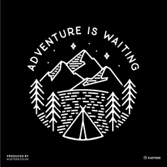 Adventure is Waiting Outdoor Minimal Line Drawing Tee