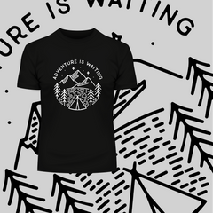 Adventure is Waiting Outdoor Minimal Line Drawing Tee Black