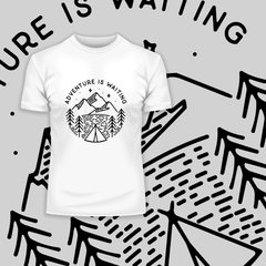 Adventure is Waiting Outdoor Minimal Line Drawing Tee White