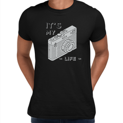 It Is My Life Vintage Old Camera Funny Typography Black T-shirt For Photographers