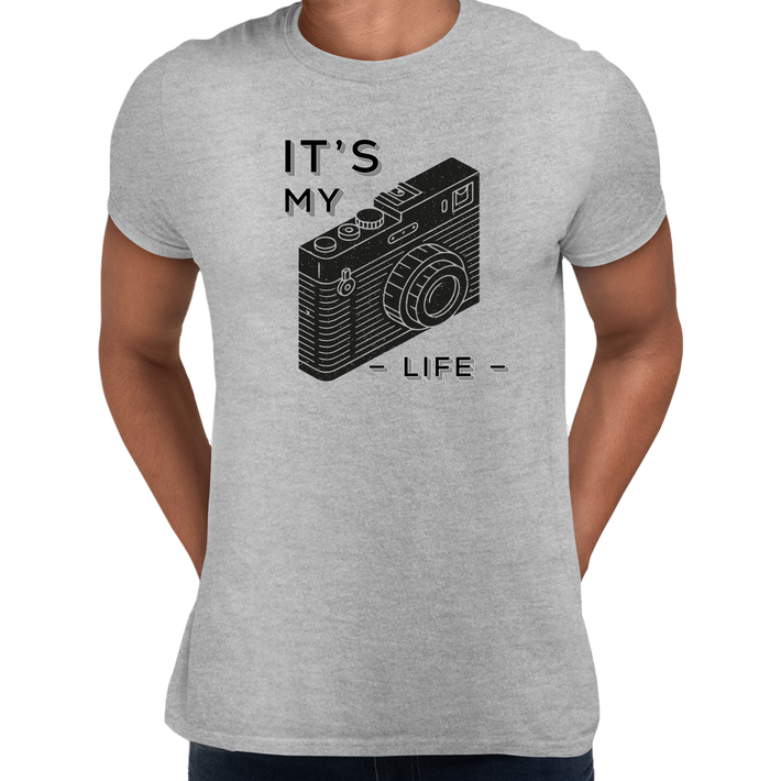 It Is My Life Vintage Old Camera Funny Typography Grey T-shirt For Photographers