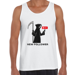 New Social Media Follower Death From a Scythe Crew Neck White Tank Top