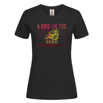 Women's A Bike On The Road Crew Neck T-Shirt For Biking Minds Black