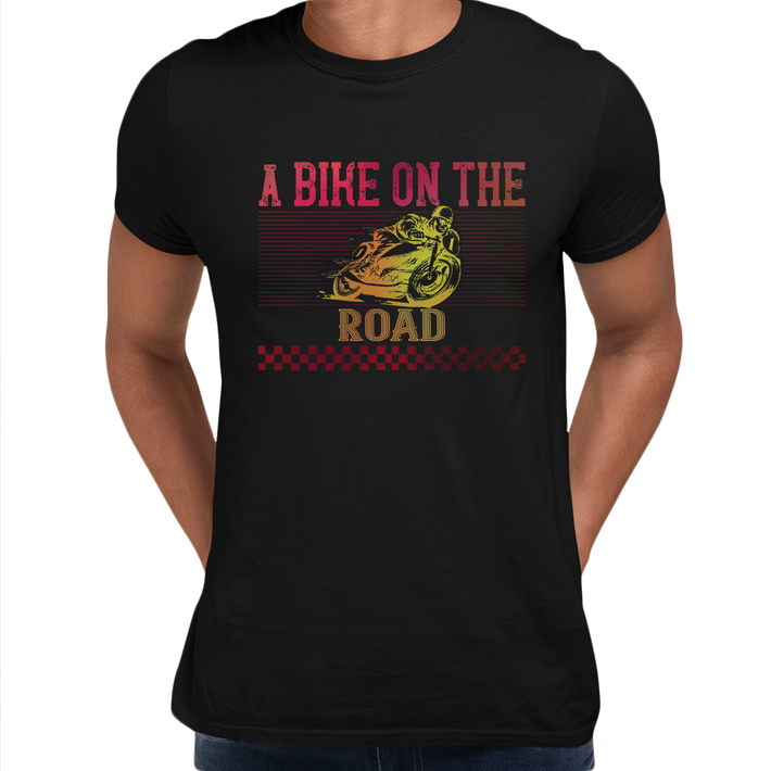 A Bike On The Road Crew Neck T-Shirt For Biking Minds Black