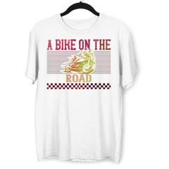 A Bike On The Road Crew Neck T-Shirt For Biking Minds White