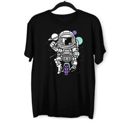Astronaut on the bike in the Space Amazing Retro Vintage Crew Neck Black