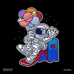 Space Astronaut On Slider Retro T-Shirt Amazing Vintage Crew Neck