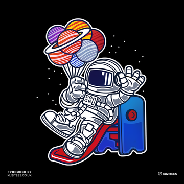 Space Astronaut On Slider Retro T-Shirt Amazing Vintage Crew Neck T-shirt Grey