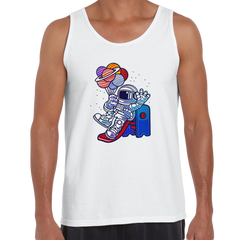Space Astronaut On Slider Retro T-Shirt Amazing Vintage Crew Neck White Tank Top