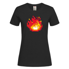Women's Minecraft Fireplace Amazing Crew Neck Tee for Gamer Geeks Black