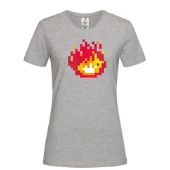 Women's Minecraft Fireplace Amazing Crew Neck Tee for Gamer Geeks Grey