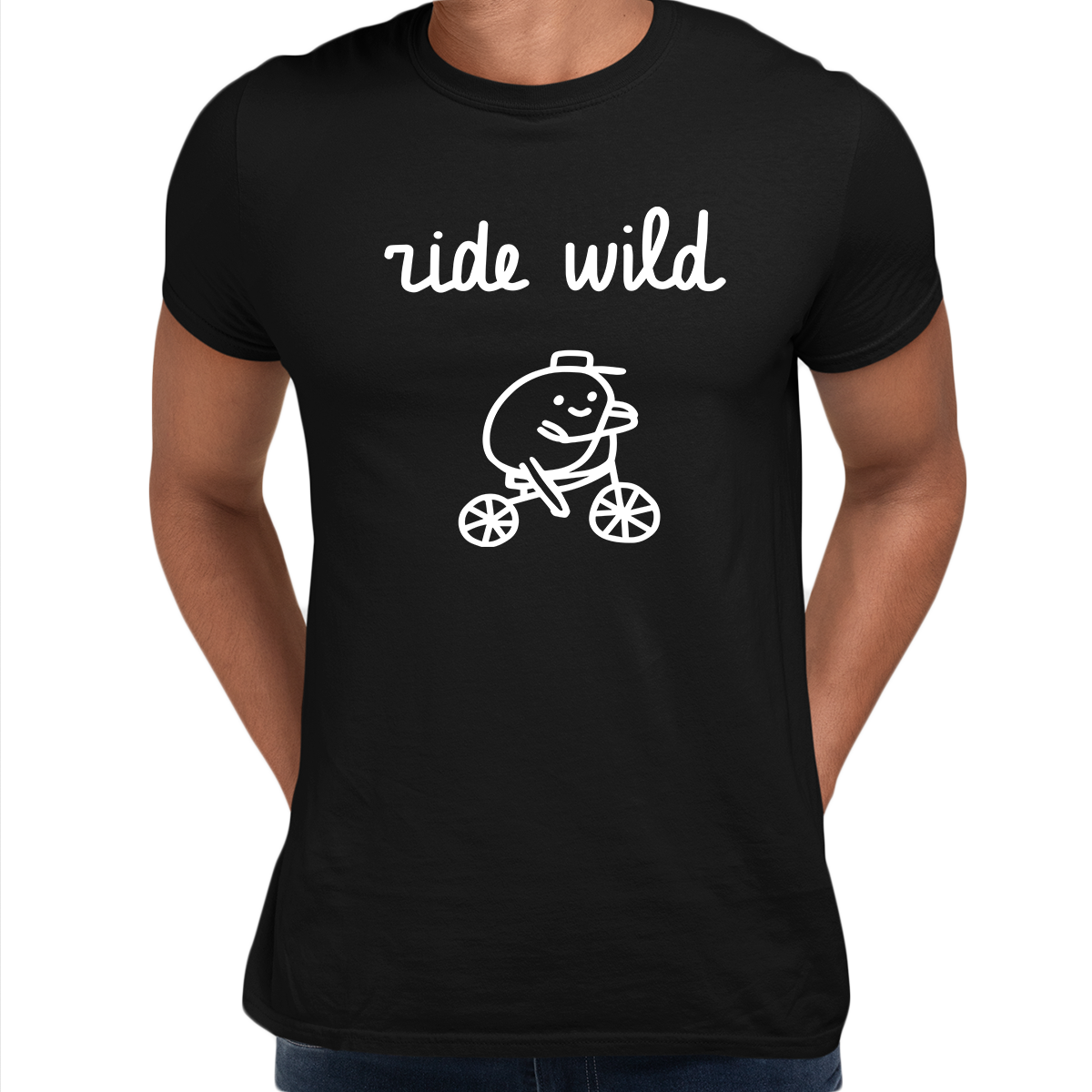 Ride Wild Funny Hipster Biking Apparel Crew Neck T-shirt Black