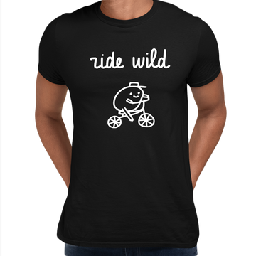 Ride Wild Funny Hipster Biking Apparel Crew Neck T-shirt White
