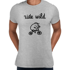 Ride Wild Funny Hipster Biking Apparel Crew Neck T-shirt Grey
