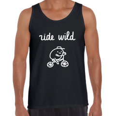 Ride Wild Funny Hipster Biking Apparel Crew Neck Black Tank Top