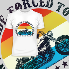 Born to Ride - Forced To Work Harley Davidson Tee Whiate