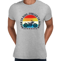Born to Ride - Forced To Work Harley Davidson Tee Grey