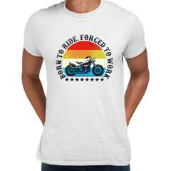 Born to Ride - Forced To Work Harley Davidson Tee White