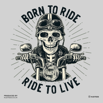 Day of the Dead Dia de los Muertos Mexican skeleton on a bike Born to ride Black