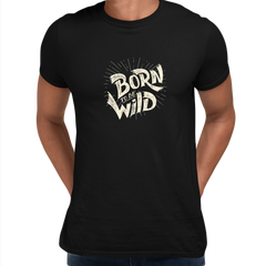 Born to Be Wild Harley Davidson Quote Biking Typography Black T-shirt