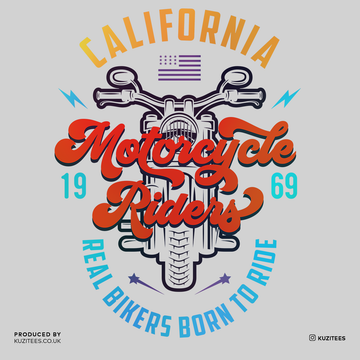 PK-98395-California Motorcycle Riders Real Bikers Born to Ride 1969 White