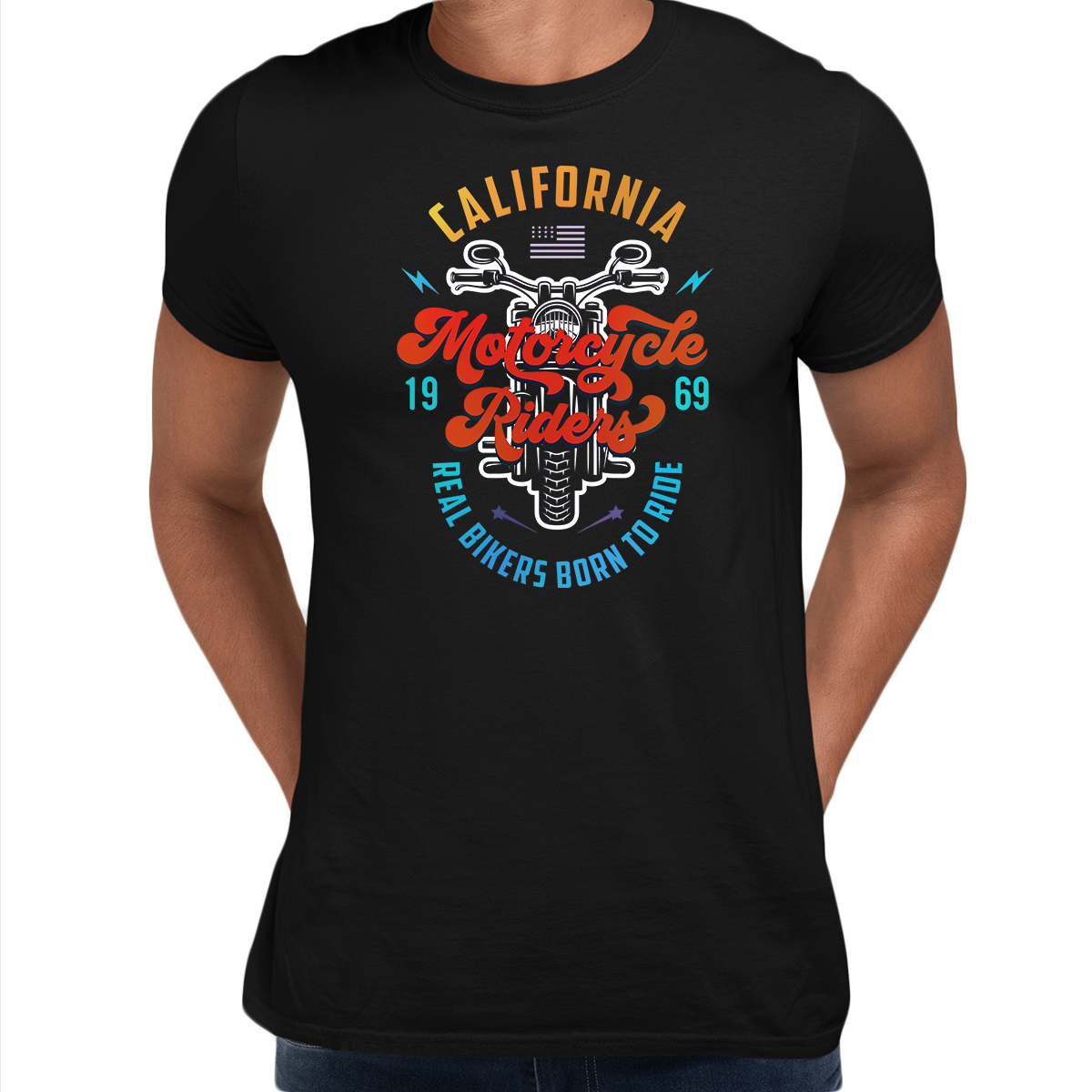 PK-98395-California Motorcycle Riders Real Bikers Born to Ride 1969 Black