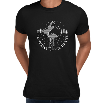 To Travel is To Live Great Outdoors Minimal Tracking Mountain Tee Black