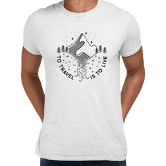 To Travel is To Live Great Outdoors Minimal Tracking Mountain Tee White