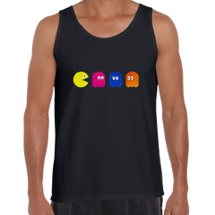 Pac Man Sleeveless Retro Black Unisex Tank Top OLD SKOOL Free Delivery