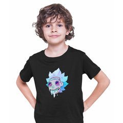 Rick Sanchez Jeez Comedy Science Fiction Crew Mate Funny Black T-shirt for Kids