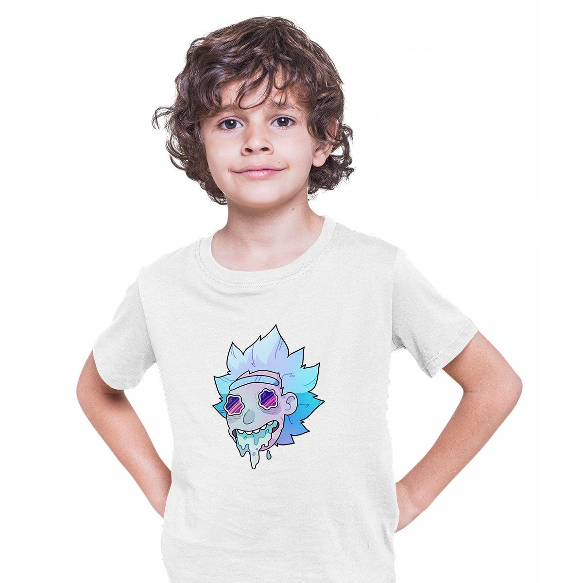 Rick Sanchez Jeez Comedy Science Fiction Crew Mate Funny White T-shirt for Kids
