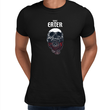 Soul Eater Skull with Roses Harley Dark Occult Grey Unisex T-shirt