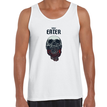 Soul Eater Skull with Roses Harley Dark Occult Black Unisex Tank Top