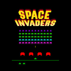 Space Invaders Inspired Unisex T-shirt - Retro Atari Arcade Game Gaming Black Tee Shirt for Men NEW