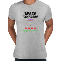 Space Invaders Inspired Unisex T-shirt - Retro Atari Arcade Game Gaming Grey Tee Shirt for Men NEW