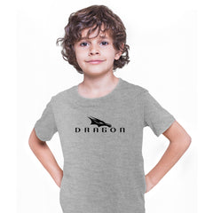 Dragon SpaceX Logo Kids Grey T-shirt Elon Musk Tesla Space Tech