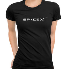 Women SpaceX Logo T-shirt Elon Musk Space Tesla NASA Scientist Gift Tee Black