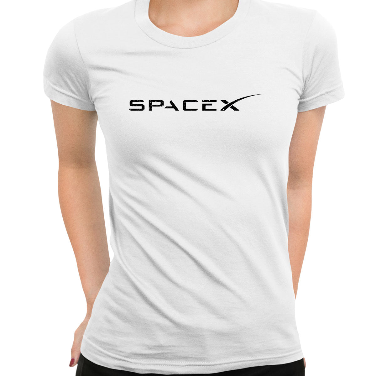 Women SpaceX Logo T-shirt Elon Musk Space Tesla NASA Scientist Gift Tee White