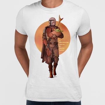 KuziTees Star Wars The Mandalorian Baby Yoda Sunset Silhouette Black T-Shirt