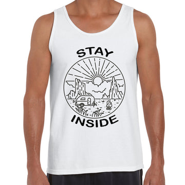 Stay Inside Van Outdoor Camping Fire Pit Minimal Illustration Black Tank Top