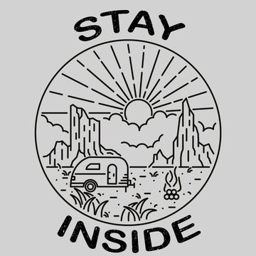 Stay Inside Black T-shirt - Van, Outdoor, Camping & Fire Pit Minimal Illustration