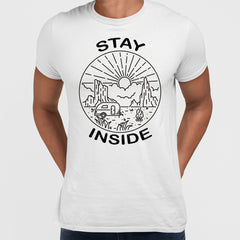Stay Inside White T-shirt - Van, Outdoor, Camping & Fire Pit Minimal Illustration